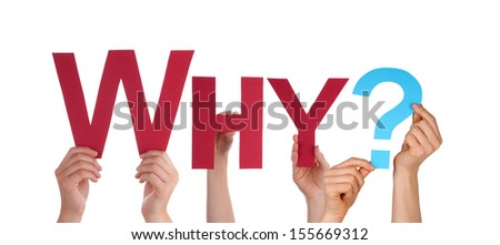 Many People Holding the Red Word Why, Isolated - stock photo