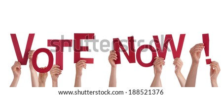 Many People Holding the Red Words Vote Now, Isolated - stock photo