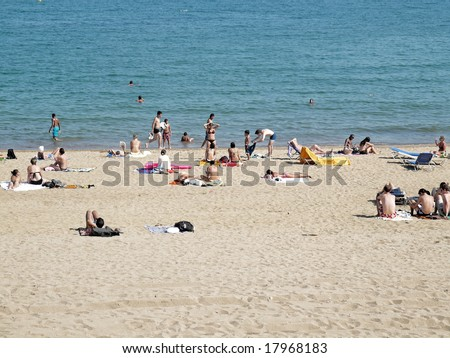 many people in a beach - stock photo