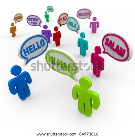 Many people speaking and greeting each other in different international languages saying hello in their native tongues - stock photo