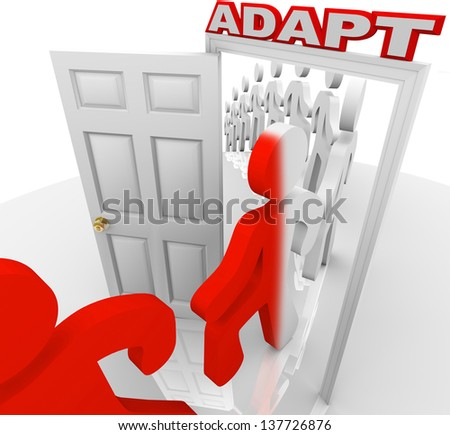 Many people step through a doorway marked Adapt to illustrate changing or innovating to succeed in life or a job - stock photo