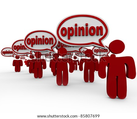 Many people talking and sharing their opinions with words in speech bubbles to communicate their criticism - stock photo
