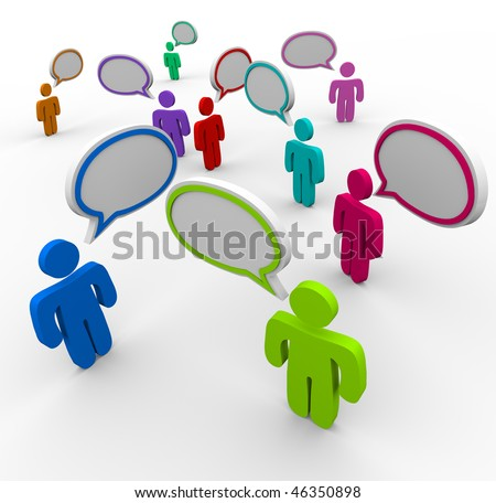 Many people talking at the same time in disorganized, confused communication - stock photo