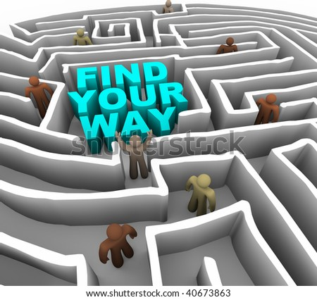 Many people try to find their way through a deep maze - stock photo