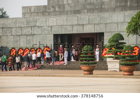 Many People Vietnamese and Foreigner tourist Memorial Ho Chi Minh's President at his Mausoleum in Ba Dinh Square, Hanoi, Vietnam January 17, 2016.