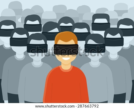 Many people wearing virtual reality helmet. Conceptual illustration of future generation - stock photo
