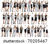 many peoples team isolated over white background - stock photo