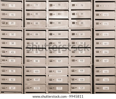 many personal mailboxes - stock photo