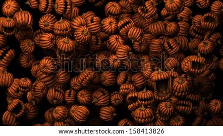 Many predatory pumpkins 3d cartoon, dark background - stock photo