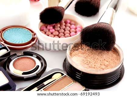 Many professional cosmetics for make up - stock photo