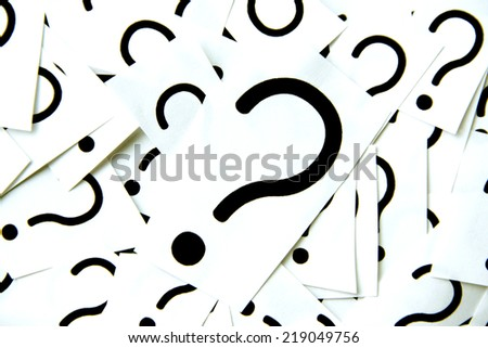 Many question marks - stock photo