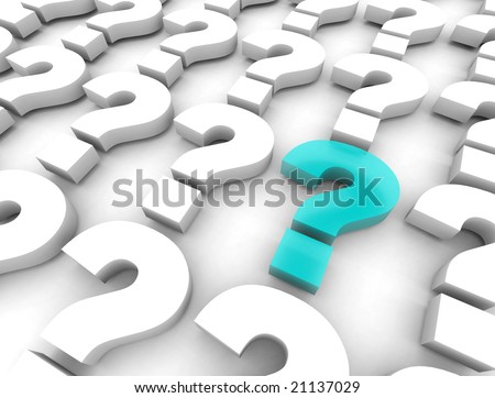 Many question marks on a white background, with one mark highlighted in blue in the foreground