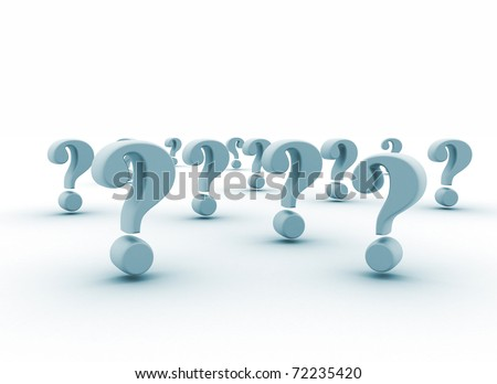 Many question marks on white background - stock photo