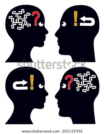 Many Questions Simple Answer. Complicated issues or problems can have simple solutions for man or woman - stock photo