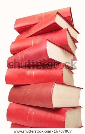 Many red books combined by a pile. Objects over white