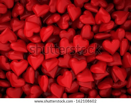 Many red hearts. 3d background - stock photo