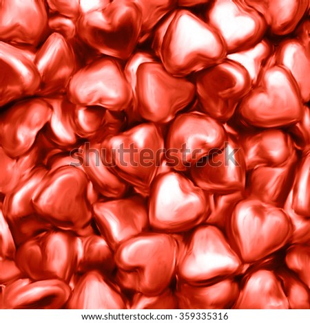Many red hearts. Painted background
