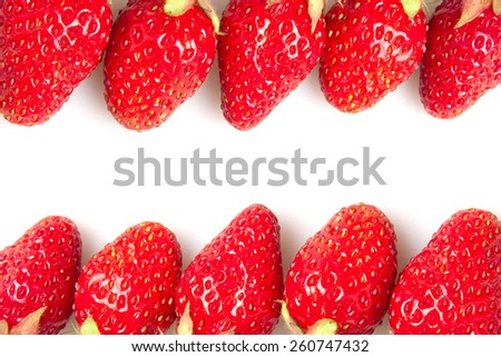 many red strawberries isolated on white - stock photo