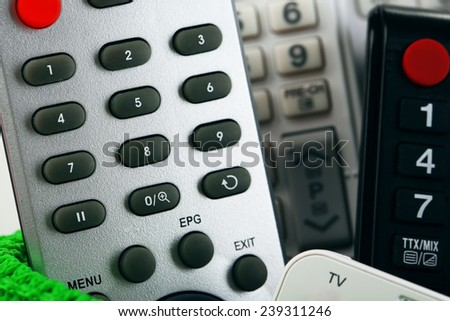 Many remote control devices close-up - stock photo