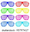 many retro colorful shades sunglasses isolated on white background - stock photo