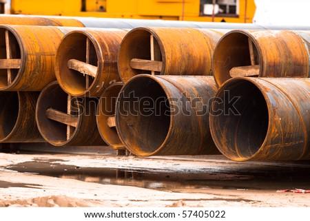 Many rusty pipe. - stock photo