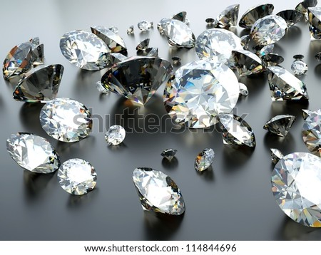 many scattered gems with reflections and caustics - stock photo