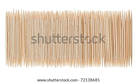 Many scattered toothpicks in paling shape, isolated on white - stock photo