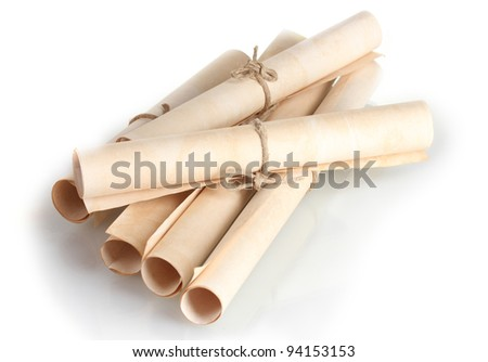 Many scrolls isolated on white