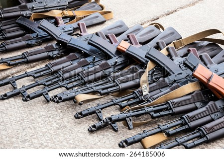 many seized weapons after the battle - stock photo