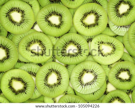 Many slices of kiwi fruit - stock photo