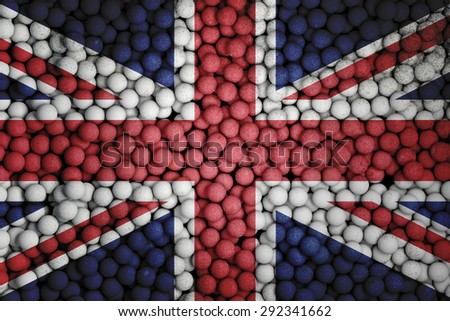 Many small colorful balls that form national flag of United Kingdom. 3d render image. - stock photo