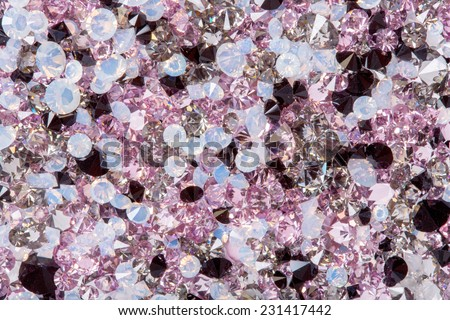 Many small diamond jewel stones, luxury background - stock photo