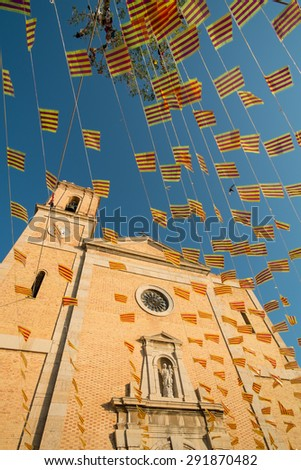 Many small flags on a festive day