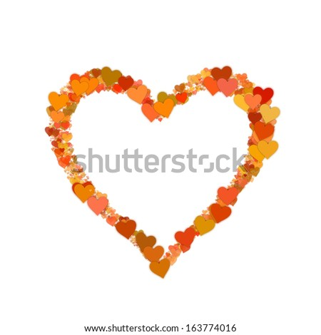 many small hearts on white backgrounds. shape with clipping path