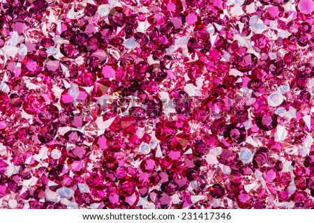 Many small ruby and diamond stones, luxury background - stock photo