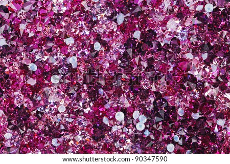 Many small ruby diamond stones, luxury background - stock photo