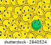 Many smiles in one place! They lay the friend on the friend, turned differently, close partially each other. One smile differs from all color (green). The image is initially created as ras - stock photo