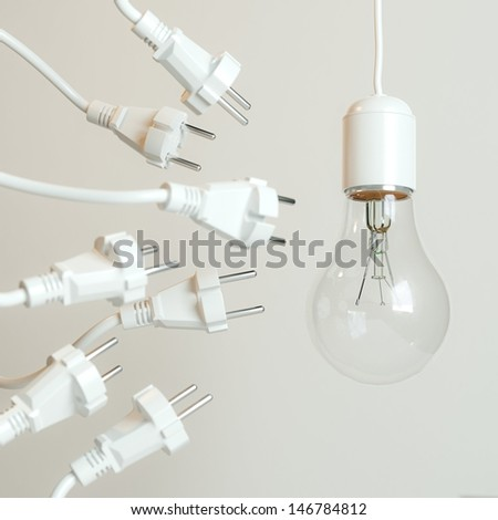 Many Sockets With A Lightbulb (Conceptual Picture On White Background) - stock photo