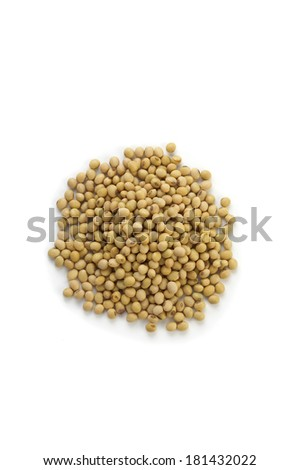 many soy on white background in topview