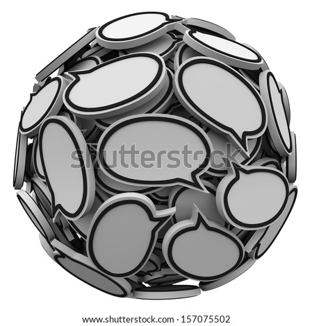Many speech bubbles or clouds in a sphere or ball to illustrate talking, opinions, sharing, discussion and feedback - stock photo