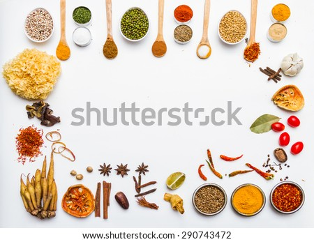 Many spices and herb for health background for decorate design. - stock photo
