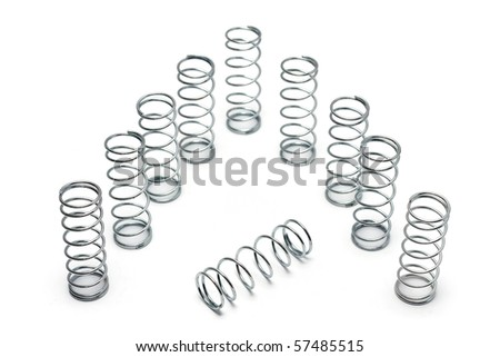 Many spring coils isolated on white background. - stock photo