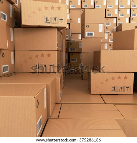 Many Stacks of Cardboard Boxes, Industrial Background. - stock photo