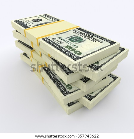 Many stacks of money lying on each other - stock photo