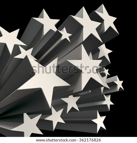 Many stars are pushed out.  Black background, Computer generated image. - stock photo