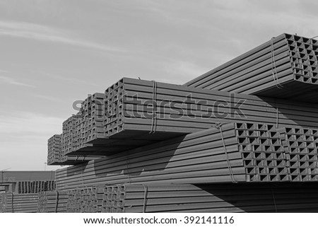 Many steel stacked together  - stock photo