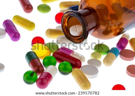 many tablets . photo icon for addiction and costs in medicine and medicines. - stock photo