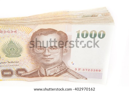 Many Thai Baht currency on white background
