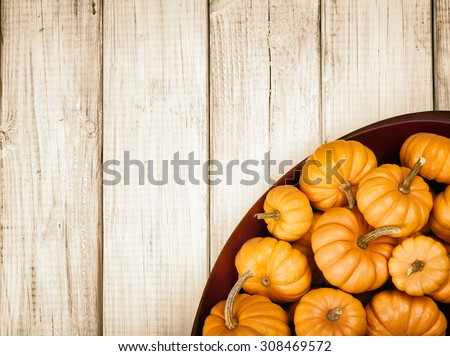 Many Thanksgiving, Colorful Fall Mini Pumpkins in a Wood Bowl in corner on Rustic White or brown Painted Board Background with room or space for copy, text, your words  Above view, sepia horizontal - stock photo