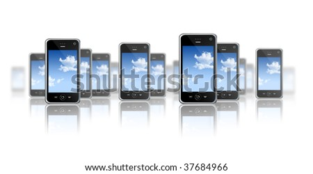 many three dimensional mobile phones on a white background - stock photo